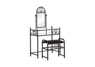 Image for 2-Piece Metal Vanity Set With Glass Top Black