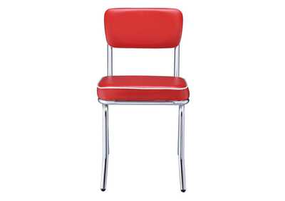 Retro Open Back Side Chairs Red And Chrome (Set of 2),Coaster Furniture