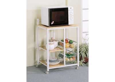 Image for Natural Brown and White Casual Kitchen Cart