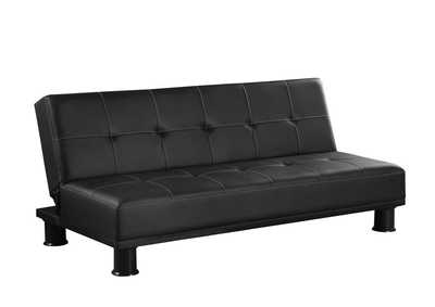 Image for Mine Shaft Contemporary Black Faux Leather Sofa Bed