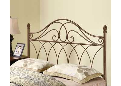 Traditional Rich Brown Metal Headboard W/ Weave Design