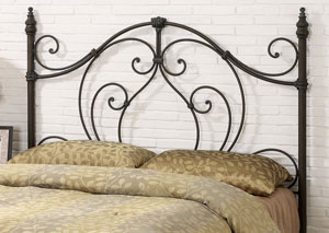 Traditional Black and Bronze Metal Headboard W/ Looping