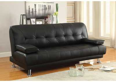 Black Contemporary Black and Chrome Sofa Bed,Coaster Furniture