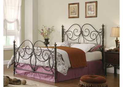 London Dark Bronze Metal Queen Bed