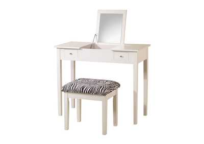 2-Piece Vanity Set White And Zebra