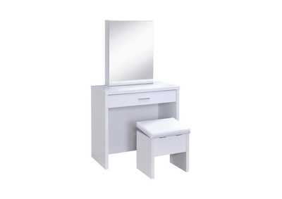 2-Piece Vanity Set With Lift-Top Stool White