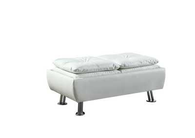 Quick Silver Dilleston Contemporary White Ottoman
