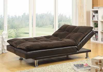 Brown Contemporary Overstuffed Brown and Chrome Sofa Bed