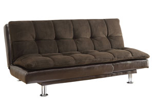 Brown Contemporary Overstuffed Brown and Chrome Sofa Bed,Coaster Furniture