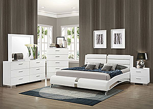 White Eastern King Upholstered Bed w/Dresser & Mirror