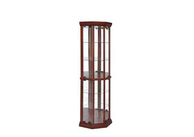 Aqua Haze Traditional Medium Brown Curio Cabinet