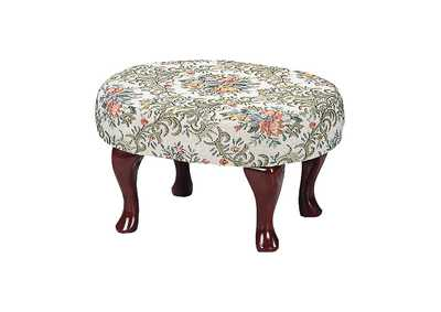 Upholstered Foot Stool Beige And Green
