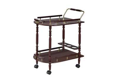 Image for Woody Brown Recreation Room Traditional Merlot Serving Cart