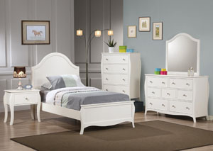Dominique White Twin Bed Bed w/Dresser & Mirror