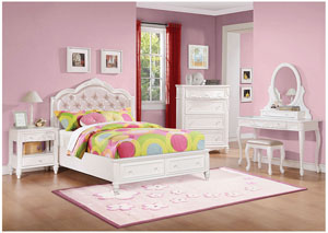 Image for White Twin Bed w/Dresser & Mirror