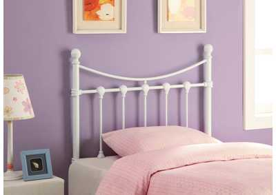 Lily White Metal Twin Headboard