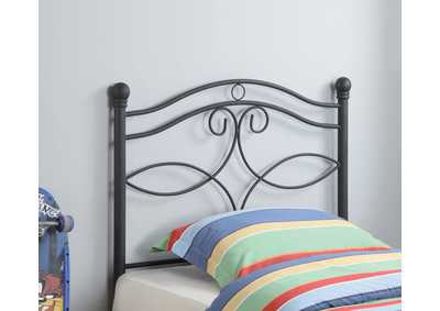 Mischka Transitional Black Metal Twin Headboard