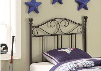 Alabaster Transitional Brown Metal Twin Headboard