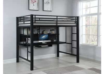 Loblolly Contemporary Black Metal Loft Bed