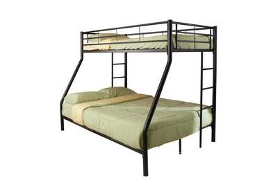 Green Mist Contemporary Black Twin-Over-Full Bunk Bed,Coaster Furniture