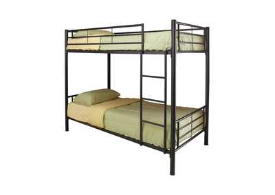 Tana Denley Black Metal Twin-Over-Twin Bunk Bed,Coaster Furniture