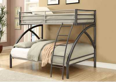 Heathered Gray Twin-over-Full Metal Bunk Bed