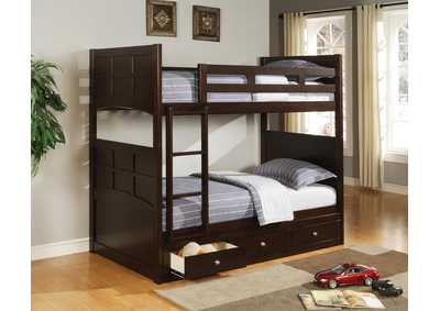 Jasper Cappuccino Twin Bunk Bed W/ Ladder