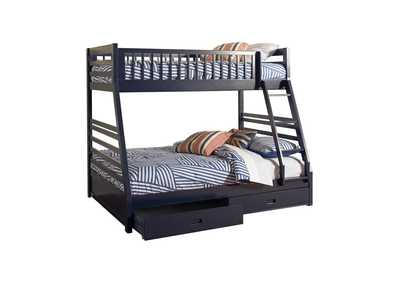 Ashton Navy Twin-over-Full Bunk Bed W/ 2 Drawer Storage