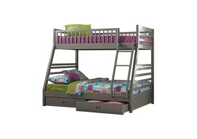 Ashton Grey Twin-over-Full Bunk Bed W/ 2 Drawer Storage