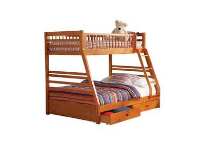 Ashton Honey Twin-over-Full Bunk Bed W/ 2 Drawer Storage