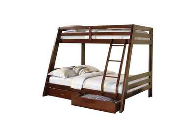 Brown Derby Hawkins Cappuccino Twin over Full Bunk Bed