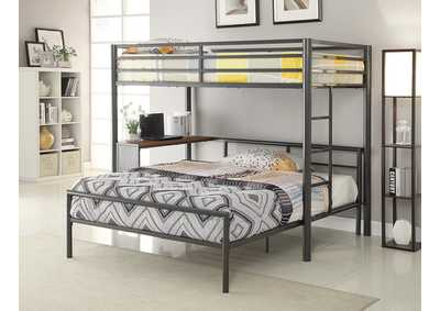 Chestnut Metal Workstation Twin Loft Bed