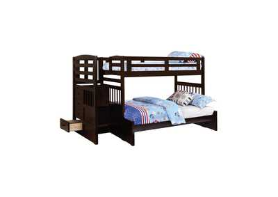 Night Rider Dublin Traditional Cappuccino Twin-over-Full Bunk Bed,Coaster Furniture