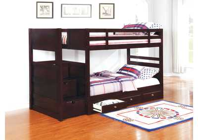Image for Cocoa Brown Elliott Transitional Cappuccino Twin-over-Twin Bunk Bed