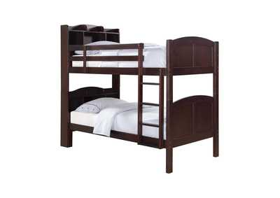 Parker Cappuccino Twin-over-Twin Bunk Bed W/ Bookcase Storage Headboard