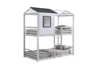 Mischka Belton Light Grey Twin-over-Twin Bunk Bed
