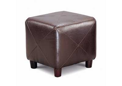 Woody Brown Cube Ottoman Brown