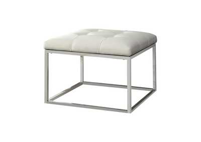 Image for Quill Gray Contemporary White and Chrome Ottoman