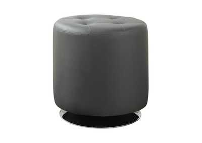 Tundora Contemporary Grey Round Ottoman
