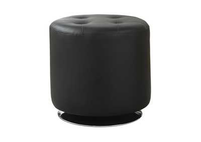 Eerie Black Contemporary Black Round Ottoman