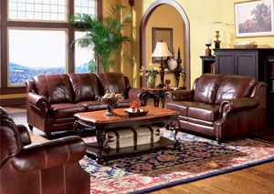 Image for Princeton Dark Brown Tri-Tone Leather Sofa & Love Seat