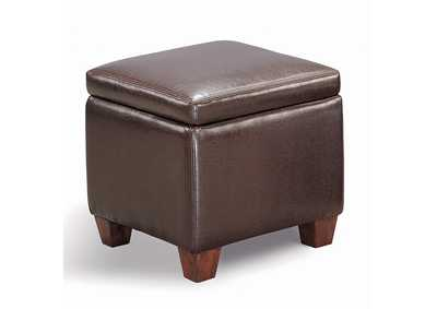 Taupe Causal Brown Storage Ottoman
