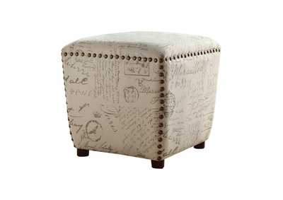 Upholstered Ottoman With Nailhead Trim Off White And Grey