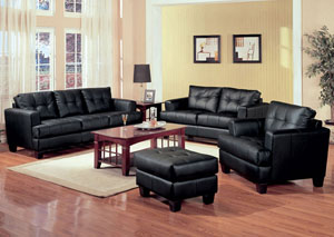 Image for Samuel Black Bonded Leather Sofa & Love Seat
