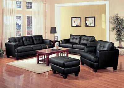 Cappuccino Samuel Black Loveseat,Coaster Furniture