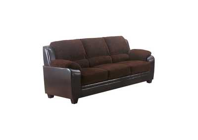 Eerie Black Monika Transitional Chocolate Sofa