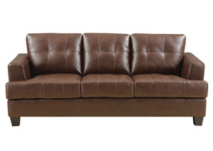 Image for Samuel Tufted Sofa Dark Brown