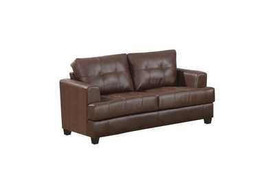 Image for Samuel Tufted Loveseat Dark Brown