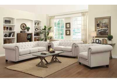 Image for Cappuccino Roy Traditional Oatmeal Button-Tufted Sofa