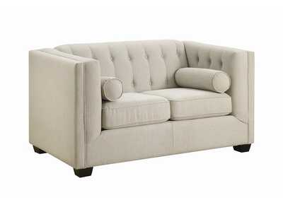 Image for Brown Cairns Transitional Oatmeal Tufted Back Loveseat